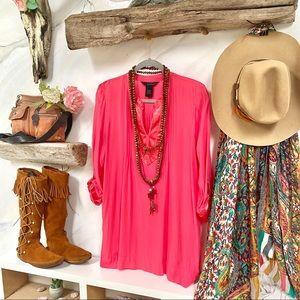 Beautiful BOHO long blouse with satin detailing